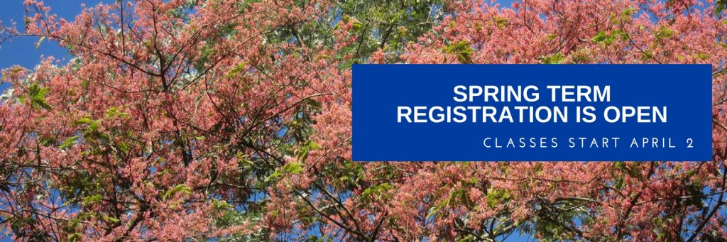 Spring term registration is open