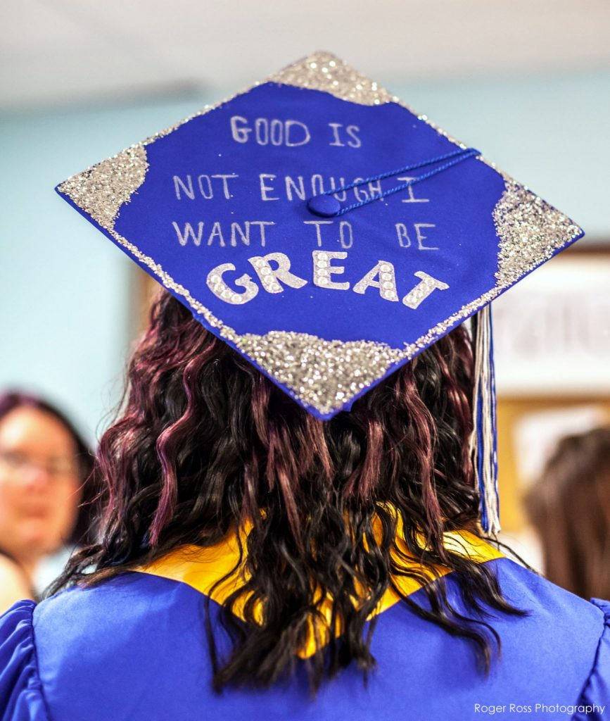A graduation cap with motivational words