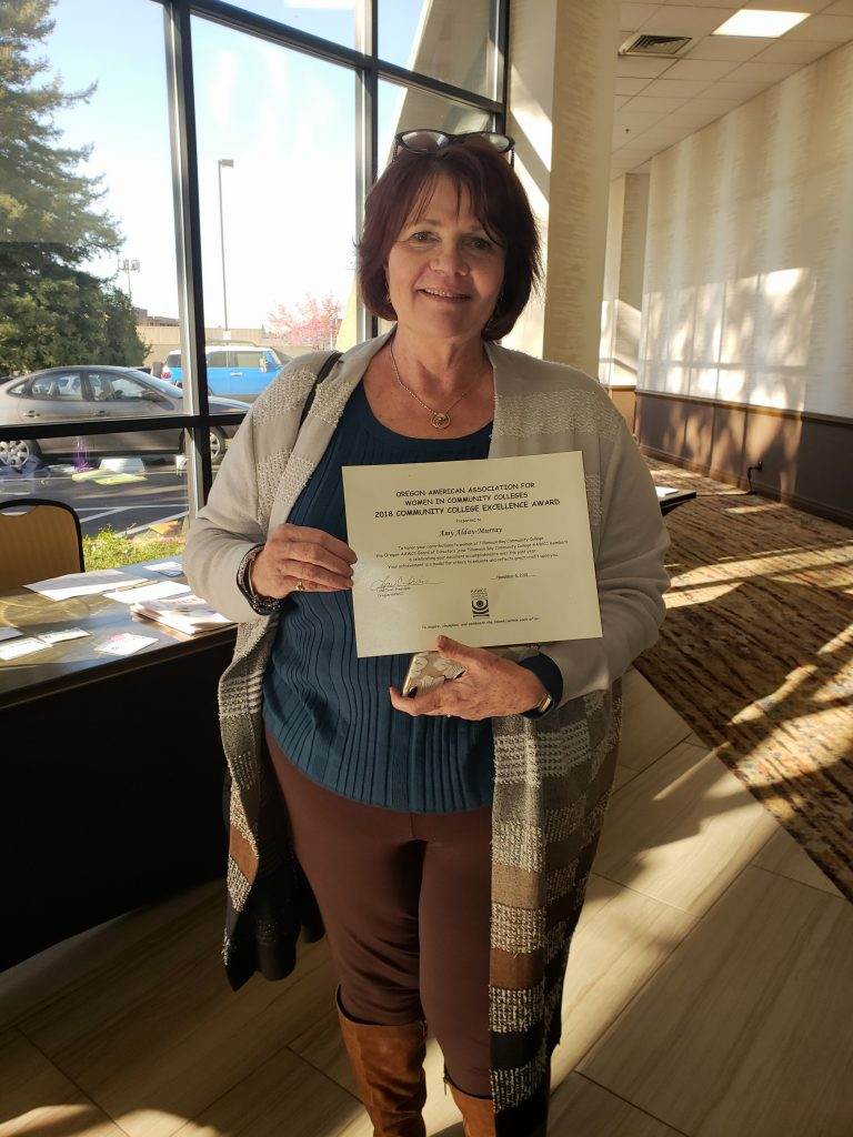 Amy Alday Murray recognized with Oregon American Association of Women in Community Colleges - Community College Excellence Award
