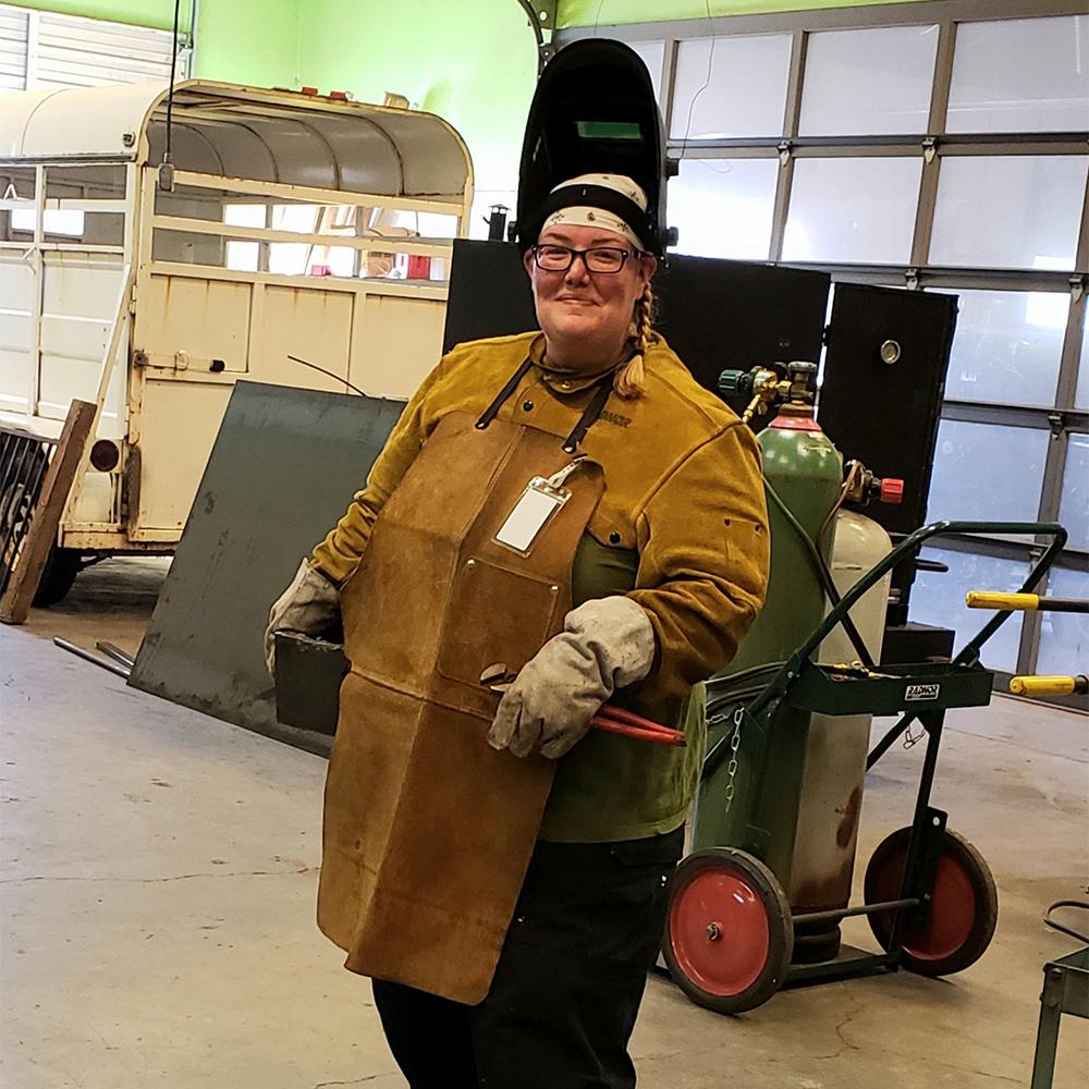 Jude Schlotzhauer in welding lab
